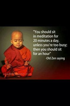 """You should sit in meditation for 20 minutes a day, unless you're too busy; then you should sit for an hour"" ;)"