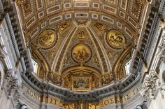 S. Pietro in Vaticano (Saint Peter's) is the station for the Saturday of the First Week in Lent. As the greatest church in all Christendom, little other introduction is required. (Pictured, from top to bottom: the apse above the Altar of the Chair; Arnolfo di Cambio's sculpture of Saint Peter; an image of Peter from the ceiling of the loggia outside the basilica; the inside roof of the baldacchino above the papal altar