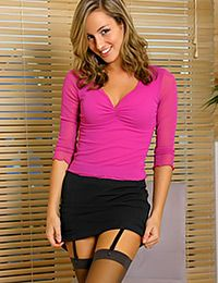 Gorgeous young lady wants to be your secretary and shows her skills right in front of the camera