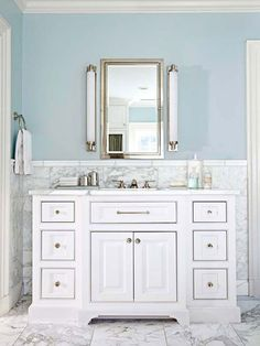 Marble is both beautiful and timeless. Kate from Centsational Style shows how to incorporate marble in your bathroom: http://www.bhg.com/blogs/centsational-style/2013/06/05/marble-in-the-bathroom/?socsrc=bhgpin060813marble