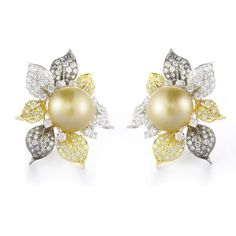 3.95ct Diamond and South Sea Pearl 18k Two Tone Gold Earrings
