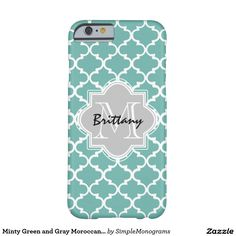 Minty Green and Gray Moroccan Quatrefoil Monogram Barely There iPhone 6 Case