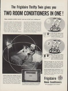 "Description: 1954 FRIGIDAIRE vintage print advertisement ""Two Room Conditioners in One!"" -- The Frigidaire Thrifty Twin gives you Two Room Conditioners in One! ... each system is powered by the Meter-Miser -- Size: The dimensions of the full-page advertisement are approximately 10.5 inches x 14 inches (27 cm x 36 cm). Condition: This original vintage full-page advertisement is in Very Good Condition unless otherwise noted."