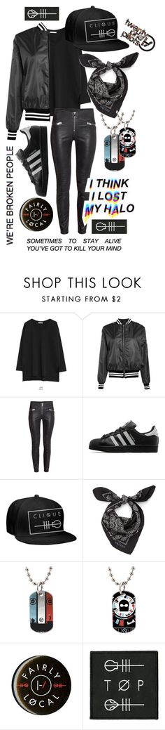 """Twenty one pilots's outfit"" by allisjess ❤ liked on Polyvore featuring Goroke, Boohoo, adidas Originals, Alexander McQueen, women's clothing, women, female, woman, misses and juniors"