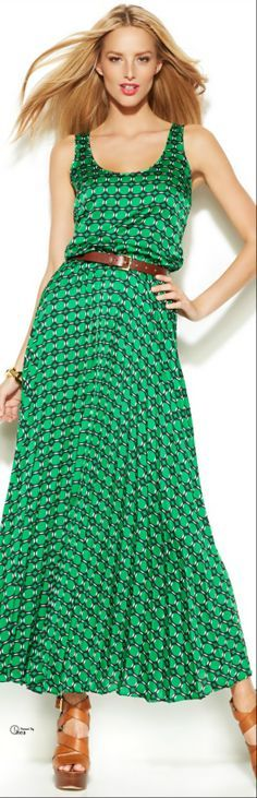 Michael Kors ● Green Printed Maxi Dress @roressclothes closet ideas #women fashion outfit #clothing style apparel