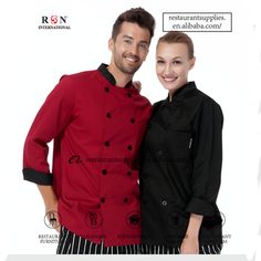Basic unisex long sleeve chef jacket red black available with split cuffs Europe Fashion, Japan Fashion, Uniform Design, Denim Fabric, Double Breasted, Work Wear, Chef Jackets, Jackets For Women, Unisex