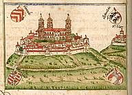 Scwaebisch Hall, about 1:11 drive away.  I have heard this is a great old town to spend the day.  Northeast of Stuttgart.  The Comburg monastery, coloured painting from a chronicle manuscript, around 1600