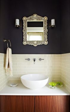 Powder room tile wall powder room contemporary with dark walls wall mounted faucet tile bathroom backsplash