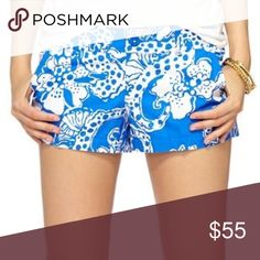 Lilly Pulitzer Walsh Short Size 4 Lilly Pulitzer shorts. Worn once and in incredible condition. I believe the print is called, Colombo. 100% cotton.  No trades, no transactions off of Poshmark. I consider reasonable offers through the offer button and give bundle discounts. Lilly Pulitzer Shorts