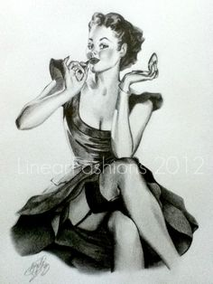 Black and white art on my take of Elvgren's pin up painting of a Woman Applying Lipstick.