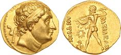 Bactrian and Indo-Greek Kingdoms. Diodotus I (c.250-230 BC). Gold Stater, in the name of Antiochus II,  Diademed bust of Diodotus I facing right - Rev. ΒΑΣΙΛΕΑΣ ΑΝΤΙΟΧ(ΟΣ) (King Antiochus) Zeus, naked, striding left, hurling thunderbolt, holding aegis over left arm, at feet, eagle with raised wings standing left, wreath left field.