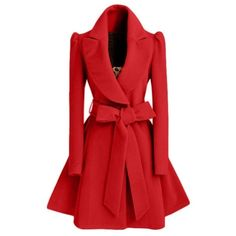 2016 Winter New Fashion Notched Lapel Coat with Bow Tie Belt (170 MYR) ❤ liked on Polyvore featuring outerwear, coats and red coat