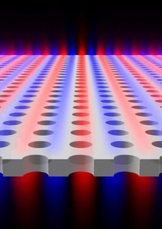 Effiziente Falle für Licht: Photonischer Kristall aus strukturiertem Siliziumnitrid fungiert als nahezu perfekter Resonator. Abb.: Licht bleibt bei bestimmten Wellenlängen im photonischen Kristall eingeschlossen. Rot und blau kennzeichnet die Stärke des elektrischen Felds. (Bild: C. Wei Hsu et al.) http://www.pro-physik.de/details/opnews/5003981/Effiziente_Falle_fuer_Licht.html