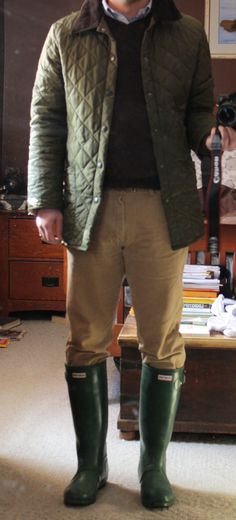 the-tweed-fox:  WIWT: A chilly afternoon walk in the spring slush. Jacket - Barbour Jumper - Denver Hayes Shirt - Ralph Lauren OCBD Jeans - ...
