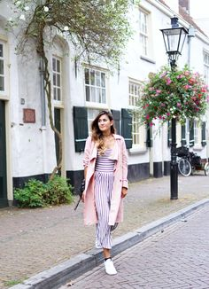 Striped culotte jumpsuit with pink trench