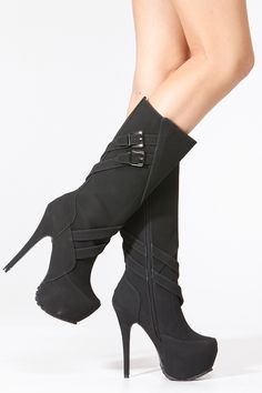 Alba Black Strap Buckle Knee Boots @ Cicihot Boots Catalog:women's winter boots,leather thigh high boots,black platform knee high boots,over the knee boots,Go Go boots,cowgirl boots,gladiator boots,womens dress boots,skirt boots.
