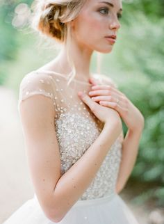 Sparkling Classic Wedding Dress with an Illusion Neckline   Jose Villa Photography   http://heyweddinglady.com/natural-romance-ethereal-garden-wedding/