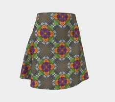 "Flare Skirt ""Green Geometry"" by Juca's Store"