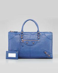Giant 12 Rose Golden Work Bag, Bleute by Balenciaga at Neiman Marcus.