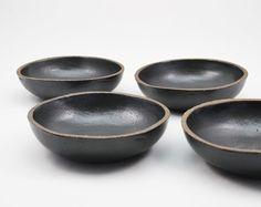 Rustikale Schale Keramikschale Schale schwarz von susansimonini