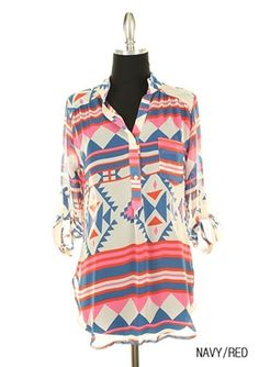 Aztec print tunic in navy and red.