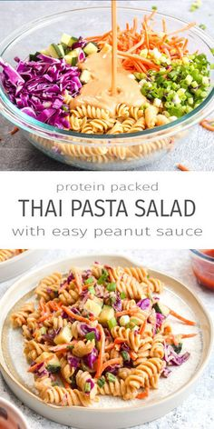 Protein Packed Thai Pasta Salad this vegan, gluten free, and grain free dish is made with gar. - Protein Packed Thai Pasta Salad this vegan, gluten free, and grain free dish is made with garbanzo - Gluten Free Recipes For Dinner, Vegan Recipes Easy, Healthy Dinner Recipes, Healthy Pasta Dishes, Healthy Thai Food, Vegan Lunch Healthy, Vegan Recipes For Beginners, Best Recipes For Dinner, Best Healthy Recipes