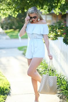 Off the Shoulder Romper Under $20 statement earrings | spring rompers | light blue romper | summer romper | spring style | summer style | what to wear on beach vacation