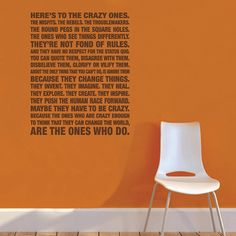 Quote Here's to the Crazy Ones Wall Art Decal by mollsdesigns, $34.00