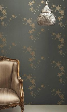 Metallic star wallpaper is perfect when you want to add a little glam to your space!