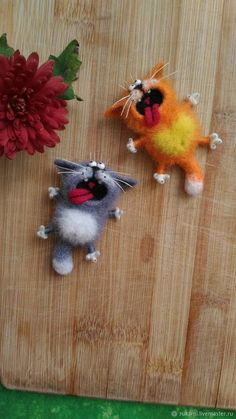 Easy DIY Felt Crafts, Felt Crafts Patterns and Felt Ball Projects. Needle Felted Cat, Needle Felted Animals, Felt Animals, Cat Crafts, Arts And Crafts, Easter Crafts, Felt Crafts Patterns, Felt Cat, Felt Brooch