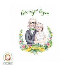 Custom Wedding Couple or Family Portrait Service / Anniversary Personalised Gift- Handmade Watercolor Illustration