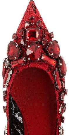Dolce & Gabbana   Crystal-embellished lace pumps.