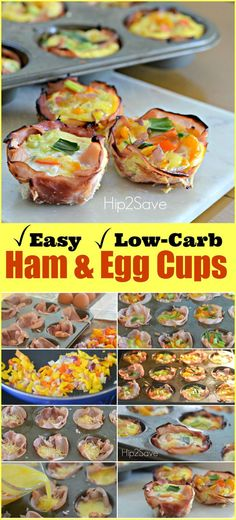 Baked Ham & Egg Cups (Low Carb Breakfast On The Go Meal). I love how cute these are!