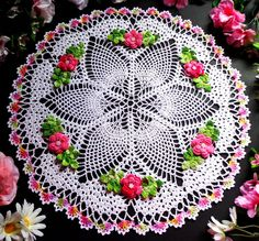 New hand crochet doily 17 inches across