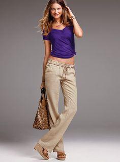 Rope Belt Linen Pant - Victoria's Secret