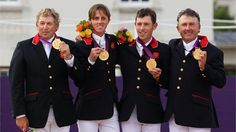 (L-R) Gold medallists Nick Skelton, Ben Maher, Scott Brash and Peter Charles of Great Britain celebrate on the podium during the medal ceremony for the Team Jumping on Day 10 of the London 2012 Olympic Games at Greenwich Park Jumping For Joy, Show Jumping, Ben Maher, Nick Skelton, Sports Gallery, 2012 Summer Olympics, Olympic Gold Medals, Team Gb, Olympic Athletes