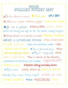 2012 Summer Bucket List