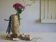 Vasen - Vase mit maritimer Deko aus Treibholz mit Seil  - ein Designerstück von SchlueterKunstundDesign bei DaWanda