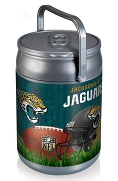 Picnic Time Football Print Can Cooler/Seat - Grey