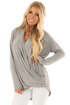9bdaa1cdb8b Lime Lush Boutique - Heather Grey Crossover Top with Long Sleeves, $36.99  (https:
