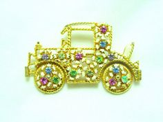 Vintage Flower Car Brooch with Rhinestones and White Enamel by SomeLittleStars, $16.00