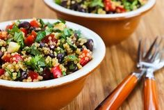 Southwestern Quinoa Salad with Black Beans, Red Bell Pepper, and Cilantro — Recipe from Kalyn's Kitchen