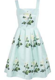 Green Sleeveless Rose Print Flare Dress pictures