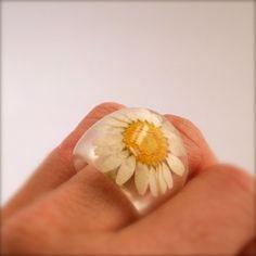 Daisy Resin Ring Pressed Flower Resin Ring  by SpottedDogAsheville, $34.00
