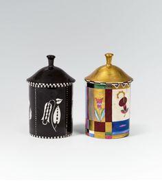 Dagobert Peche, powder tins with lid, 1912. Ceramics. Gmundner Keramik. Wiener Werkstätte, Vienna.