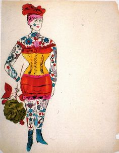 'Tattoo Woman Holding a Rose' by American Pop artist Andy Warhol (1928-1987). via Electric Bloom on tumblr