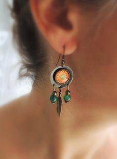 Dreamcatcher Earrings LYS MANDALA Boho Earrings Orange Mandala Jewelry with Meaning Boho Jewelry Gypsy Earrings Mandala Art Mandala Jewelry