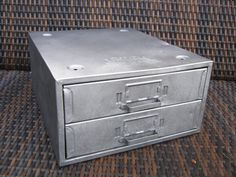 Industrial Metal File Storage Box - Stainless Metal Tool Storage Box. $14.00, via Etsy.
