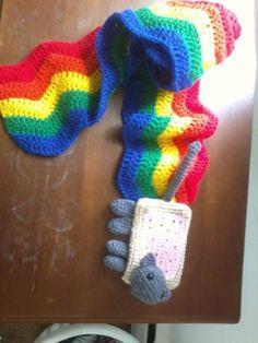 Nyan/Poptart Cat Scarf.  I wish I had the patience to crochet.