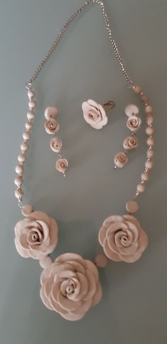 Silver, Jewelry, White Roses, Chokers, Polymer Clay, Earrings, Jewellery Making, Jewerly, Jewelery